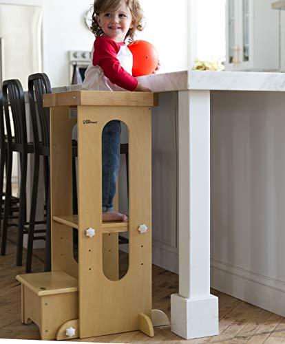 Little Partners Explore n Store Learning Tower Sgabello per Bambini Regolabile in Altezza per Bambini Naturale