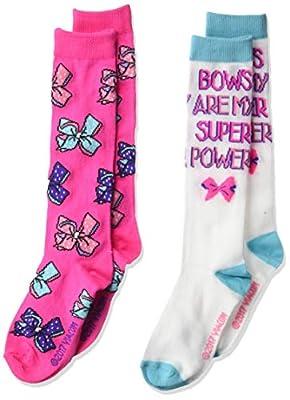 JoJo Siwa girls Jojo Siwa 2 Pack Knee High Casual Sock, Pink Blue Multi, Fits Sock Size 6-8.5 Fits Shoe Size 7.5-3.5 US
