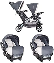 Baby Trend Sit N' Stand Easy Fold Toddler Baby Double Stroller and 2 Infant Comfortable Carry Car Seats Travel System Combo, Magnolia
