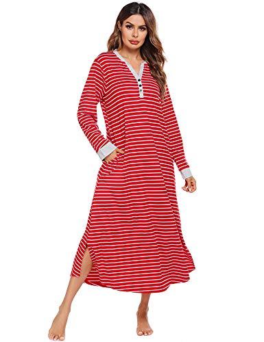 Ekouaer Women's Striped Nightdress,Long Loungewear Nightgown Sleepwear (Red Stripe, Medium)