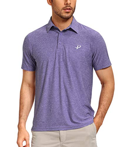Pudolla Men's Dry Fit Golf Polo Shirts Soft Light Short Sleeve Casual Polo Shirts for Men(Purple XX-Large)