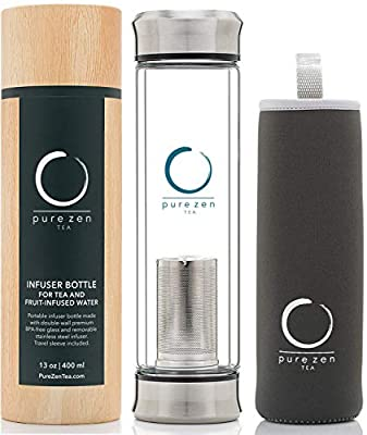 Pure Zen Tea Tumbler with Infuser - BPA Free Double Wall Glass Travel Tea Mug with Stainless Steel Filter - Leakproof Tea Bottle with Strainer for Loose Leaf Tea and Fruit Water 13 Ounce from Pure Zen Tea