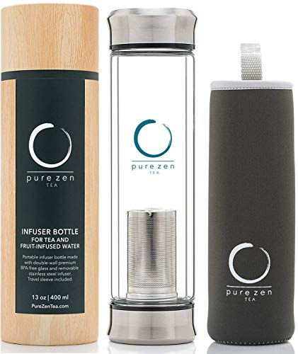 Pure Zen Tea Tumbler with Infuser - BPA Free Double Wall Glass Travel Tea Mug with Stainless Steel Filter