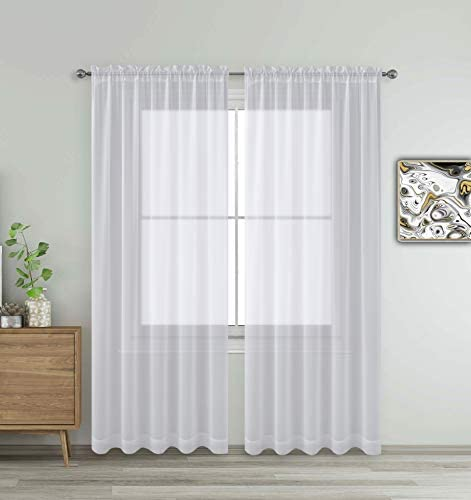 White Window Sheer Treatment Panels Beautiful Rod Pocket Voile Elegance Curtains Drapes for product image