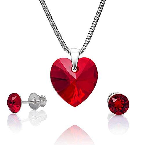 LillyMarie Damen Schmuckset Silber 925 Herz-Anhänger Swarovski Elements rot Längen-verstellbar Geschenkverpackung Geschenkideen für die Mama
