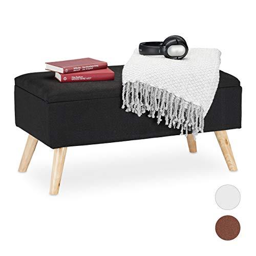 Relaxdays Sitzbank mit Stauraum, gepolstert, Holzbeine, Truhenbank Stoffbezug, H x B x T: 39,5 x 79,5 x 39,5 cm, schwarz, 1 Stück