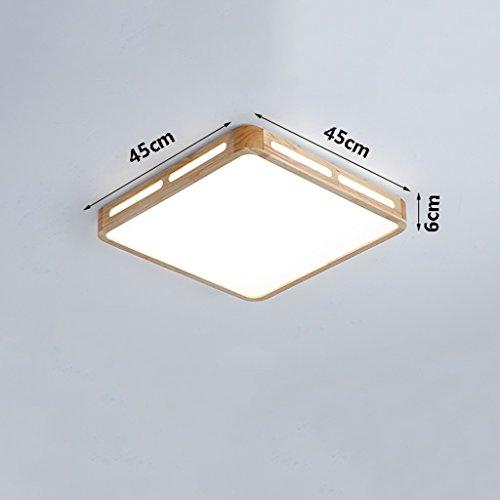 Ywyun créations japonaises de plafond en bois, plafonnier moderne conduit, chambre de salon carrés lumières couloir, 45 * 45cm (Color : 24w White light)