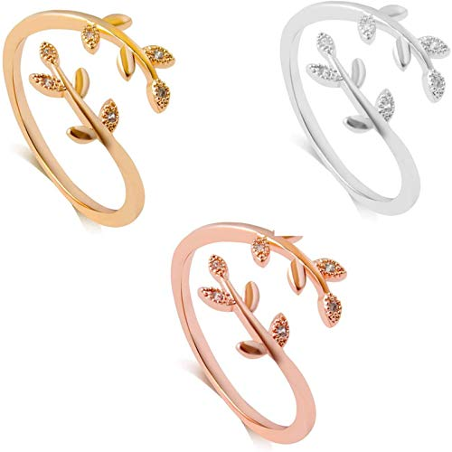 Chagoo Grow Through What You Go Through Ring for Women, Adjustable Leaf Ring Open Ring Jewelry Gift (Silver+Gold+Rose Gold)