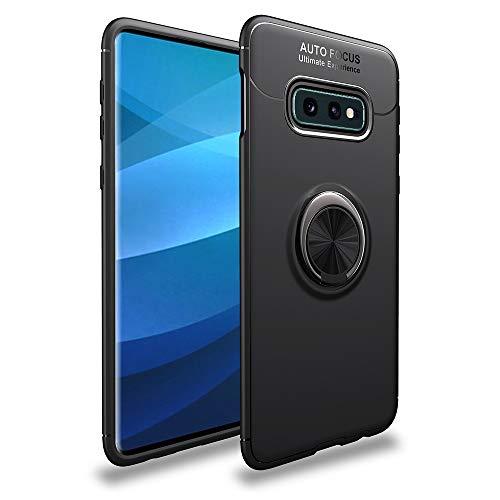 NALIA Ring Hülle kompatibel mit Samsung Galaxy S10e, Schutzhülle Cover magnetische Silikon Handyhülle 360-Grad Finger-Halter, Case Dünn Ständer Slim Thin-Fit Etui Bumper, Farbe:Schwarz