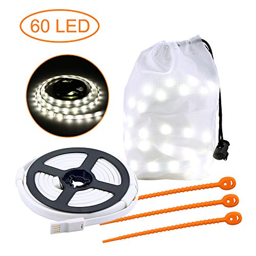 ALLOMN Outdoor Strip Light, Portable LED Tent Strip Light Rope Hanging Lights IP65 Waterproof, RGB and Cold White, USB Powered for Tent Camping Hiking (60 LED Cold White)