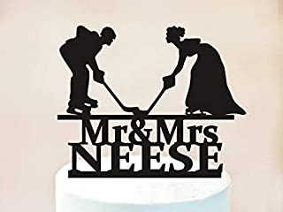 Wedding Hockey Cake Topper,Mr and Mrs Wedding Cake Topper,Hockey Theme Wedding,Hockey Fan Wedding,Hockey Party Cake Topper