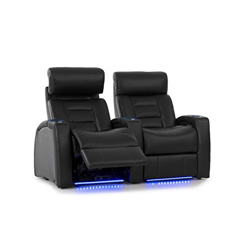 Octane Seating Flex HR Series Home Stadium Seating - Black Top Grain Leather - Power Recline - Motorized Headrest - Lighted Cup Holders - Straight Row 2
