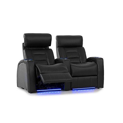 Octane Seating Série de sièges Home Stadium Flex - Cuir refendu Noir - Inclinaison électrique - Appui-tête motorisé - Porte-gobelets Lumineux - Rangée Rectiligne de 2 Sièges