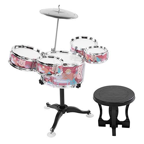 Batería para niños, batería de jazz, batería, instrumentos musicales, juguete de aprendizaje, instrumento de percusión, música, juguetes educativos para niños de 1 a 6 años, niños pequeños(rojo)