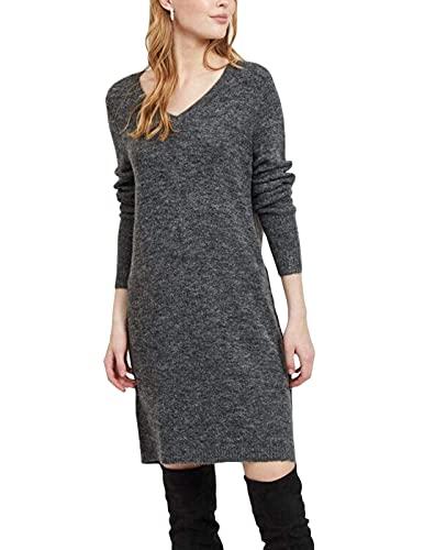 Vila NOS Damen VIVIKKA L/S Knit V-Neck Dress-NOOS Kleid, Grau (Dark Grey Melange Dark Grey Melange), 36 (Herstellergröße: S)