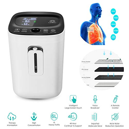 funwill Portable Intelligent Concentrator Generator with Big LED Screen and Voice Function,High Purity(90%),1L-6L,110V,Full Intelligent,Work Compact Silent,Adjustable,Portable, for Home Travel Use