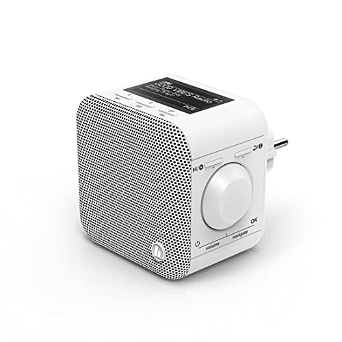 Hama Steckdosenradio DAB Radio DIR45BT Internet Radio DAB+, Bluetooth & Spotify (WLAN Küchenradio mit FM, AUX, App Bedienung, Radiowecker, LCD Display, Plug In Radio klein für Steckdose) weiß
