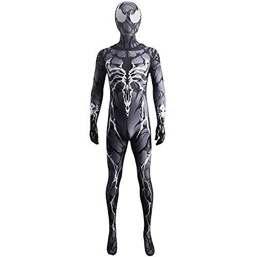 LGYCB Black Venom Gwen Fusion Cosplay Costume Carnage Queen Spider Spider Body for Women Hombres Niños Adultos Adolescentes, Mascarada Performance Props Mono,Bodysuit-Kids M(125~135cm)