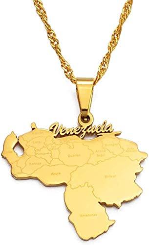 Aluyouqi Co.,ltd Collar Collar Artículo Mapa de Venezuela Collares Pendientes Joyas de Color Dorado Mapas de Venezuela Joyas con Cadena Fina de 60Cm