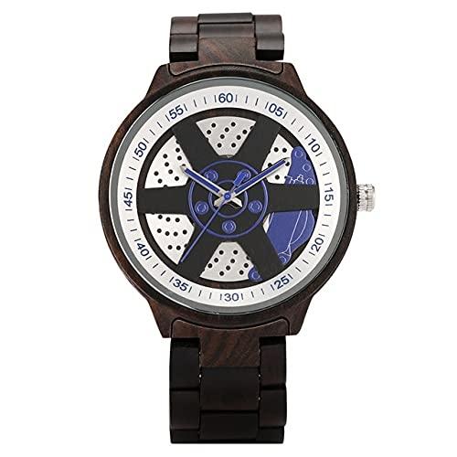 KUELXV Reloj de Pulsera de Madera Exquisita Ruleta Reloj de Madera de Bambú de Color para Hombres Movimiento de Cuarzo Esfera Redonda Puntero Verde Correa de Madera Práctico Cierre Plegable, Negro