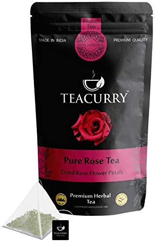 TEACURRY – Rose Petal Tea Organic | 30 Pyramid Rose Tea Bags, 60 Cups | Helps Lose Weight, Boosts Digestion, Relieves Anxiety, Increases Skin Glow | Rose Tea Drink (30 Pyramid Teabags | 60 Cups)