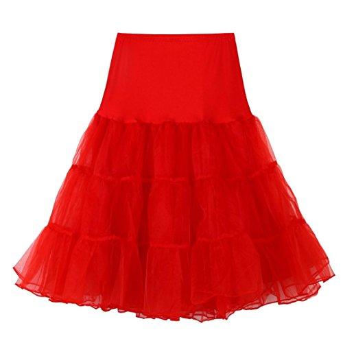 SHOBDW Caliente!Disfraz de Carnaval Mujeres Cancan 50s Retro Rockabilly Enaguas Miriñaques Faldas (Rojo, S)