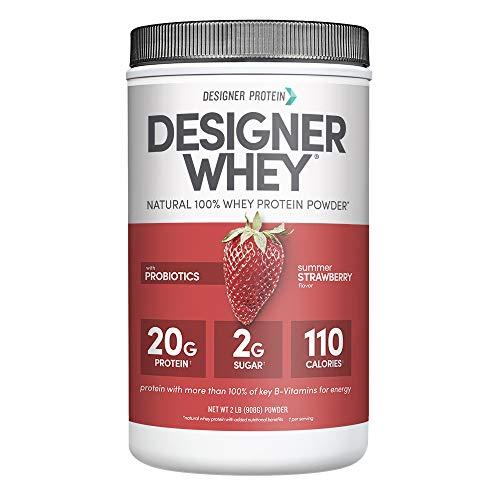 Designer Whey Protein Powder, Summer Strawberry, 2 Lb, Non GMO, Made in USA