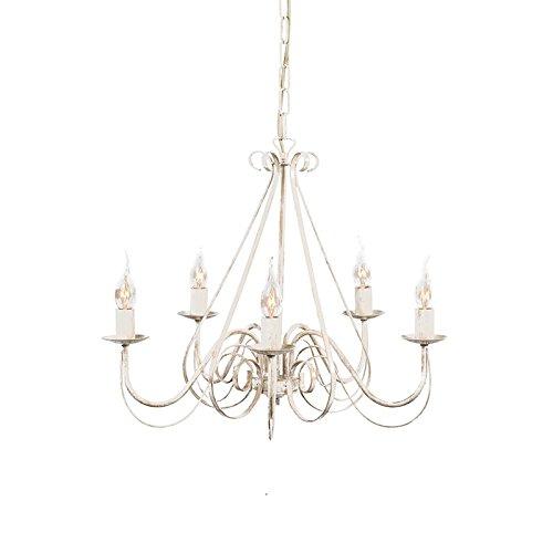 QAZQA - Landhaus   Vintage Kronleuchter   Chandelier weiß - Giuseppe 5-flammig   Wohnzimmer   Küche - Stahl Rund - LED geeignet E14