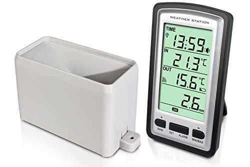 Alecto WS-1200 Funk Wetterstation mit digitalem Regenmesser, Innen- und Außentemperaturanzeige und DCF-gesteuerter Uhr. Der Niederschlagsmesser hat eine Reichweite von bis zu 100 Metern (freies Feld)