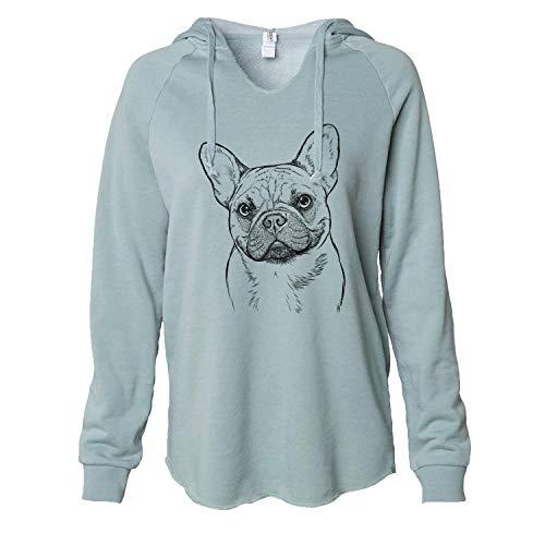 Inkopious Chew Chew The French Bulldog - Women's Cali Wave Hooded Sweatshirt -Sage Medium