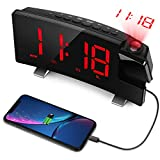 LC.IMEEKE Projection Alarm Clock, 7' LED Curved-Screen Large Digital Display, Adjust Brightness Automatically, 12/24 Hour,Dual Alarm Clock with 2 Alarm Sounds, Projection Clock on Ceiling (Blue)