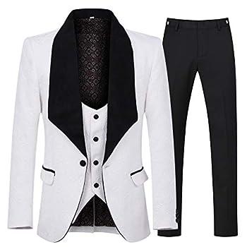 YFFUSHI Men s 3 Piece Suit Slim Fit Jacquard Tuxedo One Button Shawl Collar Jacket Vest & Trousers White
