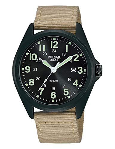 Pulsar - Reloj de nailon para hombre, color negro
