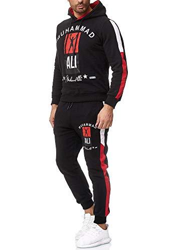 OneRedox Herren Jogginganzug Trainingsanzug Sportanzug Boxen Ali Modell 3462 Schwarz M