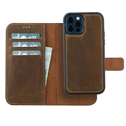 Blumax Ledercase kompatibel mit iPhone 12/12 Pro - 2in1 abnehmbar Leder mit Magnetverschluss -herausnehmbare Hülle Booklet - Vintage-Braun