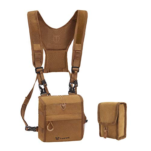 TIDEWE Bino Harness with Rangefinder Pouch & Rain Cover, Durable Lightweight Portable Binocular Pack, Comfortable Small Bino Chest Harness for Hunting, Hiking (Brown)