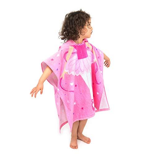 Accappatoio da Bagno Ragazzo Cotone con Cappuccio Asciugamano da Bagno Avvolgente Abbigliamento da Spiaggia Morbido Cartone Animato per Ragazze (Ballerina, 60_x_60_cm)