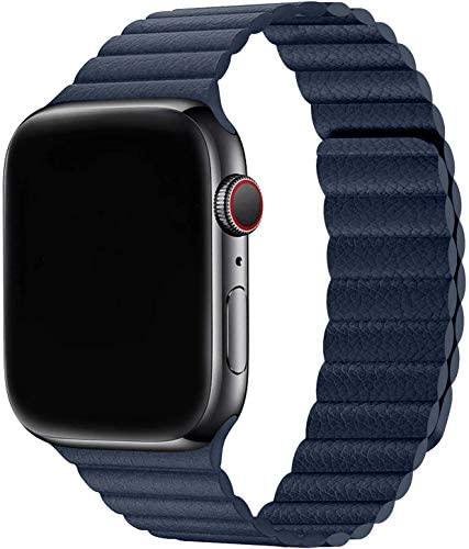Firsteit Compatible with Apple Watch Leather Band 44mm 42mm 40mm 38mm Adjustable Loop Strap product image