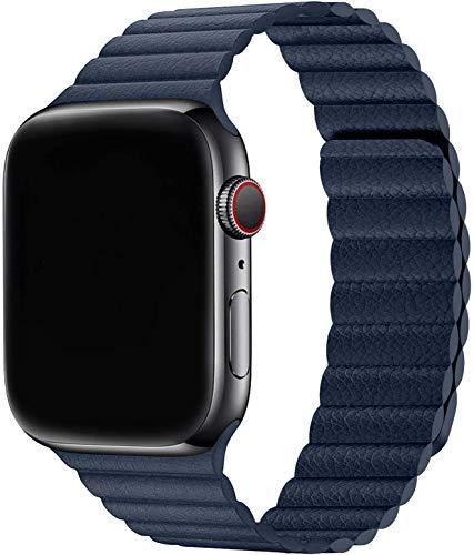 Sresrrw Pulseira de couro para compatível com Apple Watch série 6 44mm 42mm Band Loop de couro pulseira para Correia ajustável de couro com fecho magnético para mulheres homens Série 6/5/4/3/2/1/SE (42mm/44mm, Azul mergulho)