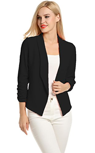 POGT Women 3/4 Sleeve Blazer Open Front Cardigan Jacket Work Office Blazer (M, Black)