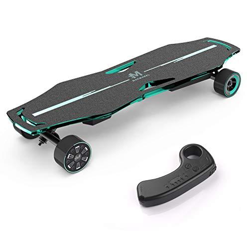 Macwheel Elektrisches Skateboard, leistungsstarker 600-W-Dual-Hub-Motor, bis zu 21 MPH, motorisiertes Skateboard mit drahtloser Fernbedienung für Erwachsene und Jugendliche (MR1)