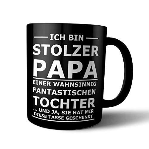 creativgravur® FUN Tasse STOLZER PAPA - Black and White Matt - mit Laser graviert