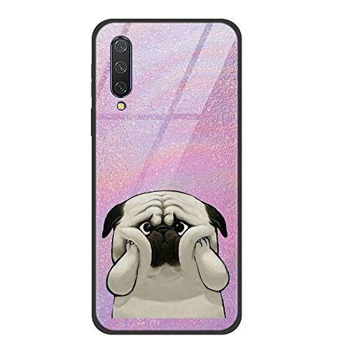 Zhuofan Plus für Xiaomi Mi CC9e Hülle, SchutzHülle Schwarz TPU Silikon Glas Zurück mit Muster Motiv Stoßfest Gehärtetes Glashülle Case Backover für Xiaomi Mi CC9e/Xiaomi Mi A3 6,09