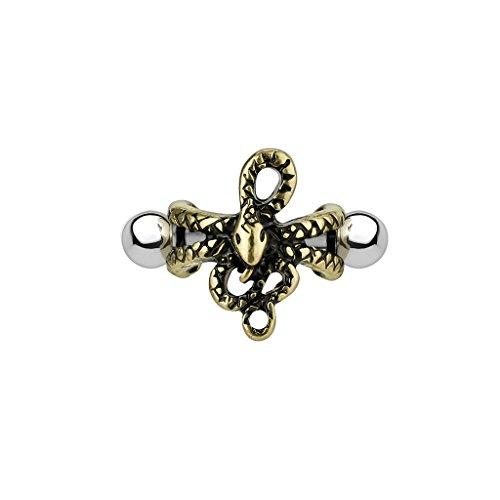 BlackAmazement 316L Edelstahl Helix Cuff Piercing Tragus Ohr Elefant Octopus Schlange Zirkonia CZ Silber Gold türkis Herren Damen (Modell: Schlange)