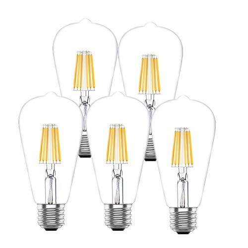 Huoqilin E27 LED Dimmbar Edison Vintage Glühbirnen, 6W warmweiß 2700K Birne,Ersazt 60W Halogenlampen, 5er Pack