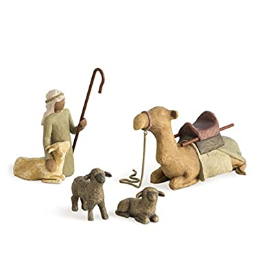 Willow Tree hand-painted sculpted figures, Shepherd and Stable Animals, 4-piece set