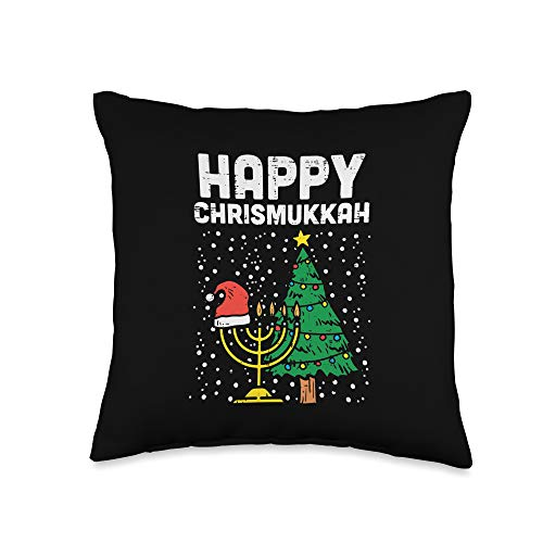 BoredKoalas Hanukkah Pillows Jew Chanukah Gifts Happy Christmukkah Jewish Christmas Hanukkah Chanukah Gift Throw Pillow, 16x16, Multicolor