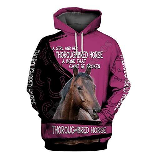 Hombres Mujeres Pure Horse Sudadera con Capucha Impresa en 3D Harajuku Zip Streetwear Sudaderas con Capucha Casuales hoodies1 5XL