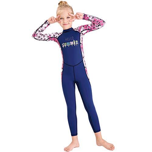 Full Body Kids Swimsuit One Piece Rash Guard Long Sleeve Wetsuit Skin for Girls Boys Children, Sunsuit Swimwear UPF 50+ UV Sun Protection Quick Dry for Beach Water Sports (Flower-Blue, L)