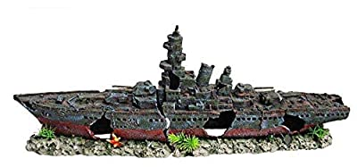 Heritage Aquarium Fish Tank Warship Battleship Boat Ship Wreck Handpainted Ornament